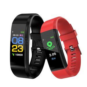 Identificación 115 pulsera inteligente Plus para el monitor de pantalla de presión rastreador de ejercicios reloj podómetro ritmo cardíaco del contador de sangre inteligente Muñequera