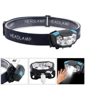 Capteur de mouvement LED Mini projecteur USB Rechargeable Phare Lampe frontale 5 modes d'éclairage Réglable Étanche Randonnée Lampe De Poche Voiture