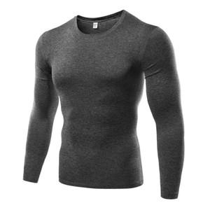 2018 Nuevos hombres de compresión Medias de manga larga Deportes transpirables Camiseta de running Deportes al aire libre Camiseta 5 colores H5