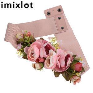 Imixlot Sweet Elegant Women Pink Flower Belt Elastic Waist Chain Hebilla de la boda Pretina Boho Floral Cinturón Accesorios