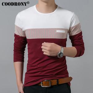 Männer Coodrony T-Shirt Frühling Sommer Neue Langarm Baumwolle O-Neck T-shirt Männer Marke Kleidung Mode Patchwork Baumwolle T Tops Heißer Verkauf
