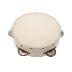 6in Hand Held Tambourine Drum Bell Metal Jingles Percussion Musical Toy for KTV Party Kids Games