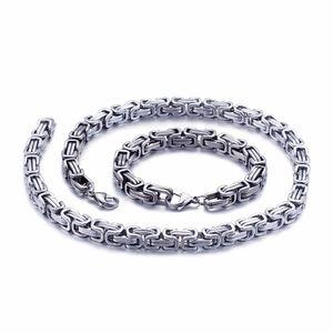 5 mm / 6 mm / 8 mm de ancho de acero inoxidable rey bizantino collar de cadena pulsera para hombre joyería hecha a mano