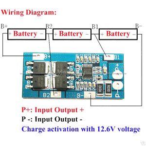 Freeshipping 3S 10A 11.1v 12.6v 3 Pack 18650 Li-ion batería de litio de la célula BMS Protection Board
