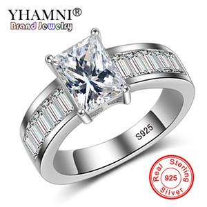 YHAMNI Fashion 2Ct Princess Cut Solitaire Anillos de Compromiso Mujer de Lujo Piedra Cuadrada CZ Zircon 925 Anillo de Plata de ley LYR005
