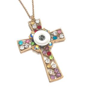 Мода крест 145 преувеличение стразы 18 мм Оснастки кнопки подвески ожерелье взаимозаменяемые Шарм ювелирные изделия для женщин подарок