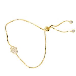 Slider Zincir Tiny CZ Asfalt Hamsa El Charm Bilezik Ayarla 925 Ayar Gümüş Yüksek Kaliteli Şanslı Güzel Kız Kadınlar Hediye Takı