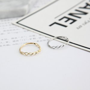 Simple woven hollow double ring exquisite lady tail ring jewelry twist ring color plating free shipping