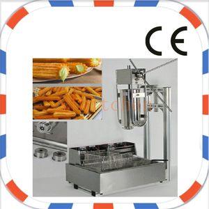 Frete Grátis Uso Comercial Manual de Aço Inoxidável 5L Churros Maker Machine com 5 pcs Bicos e 12L fritadeira churros elétrica