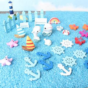60 adet 1 takım Deniz Tarzı Minyatür Mikro Peyzaj Dekorasyon Seastar Kabuk Şekli Moss Dekor Renkli Eğlenceli Bonsai Reçine El Sanatları Parçaları 22hp Z