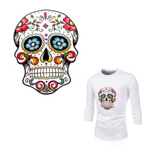 Coole Blume Skull Patches für Kleidung Aufkleber A-Level Waschbar Wärmeübertragung DIY Zubehör Dekoration Eisen auf Parch für Tote