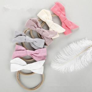 1pcs High Quality Cotton Bow Nylon Headbands Baby Girls Knot Hair Wrap 2018 Newborn Nylon Head Bands Hair Accessories All Baby