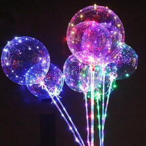 100pcs التي LED بالون مضيئة شفافة ملونة وميض الإضاءة BOBO البالونات مع عصا لجميع القديسين عيد الميلاد حفل زفاف الديكور