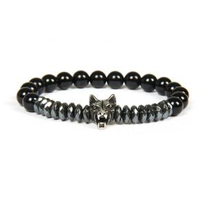 Neue Männer Silber Armband Armreifen Großhandel 10 teile / los Edelstahl Wolf Armbänder Mit 8mm Stein Perlen Perlen Schmuck Für Geschenk