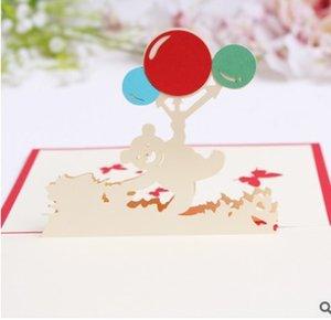 Cadeau d'anniversaire créatif pour enfants 3D Paper-Blessing Card Carte de dessin animé de ballons