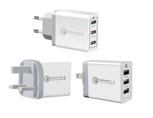 3 USB QC 3.0 Schnellladung US Eu UK Hause Wall Charger Power Adapter Schnelle adaptive 30W für iphone 11 Android-Handy 30pcs / lot
