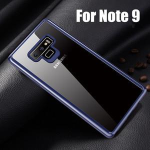 Luxo 2 em 1 pc duro + soft silicone casos de telefone transparente para nota 9 s9 plus anti-impressão digital anti-choque claro case para samsung nota 9