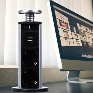 220V 16A PULL POP UP Elettrico 3 Prese di corrente 2 Presa USB Presa di corrente Presa da cucina per controsoffitti Presa di corrente UE