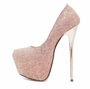 Mode Pailletten Frauen Kleid Schuhe 2019 Sexy Designer Frauen Heels Damen Plateauschuhe Strass Hochzeit Stiletto Heels Schwarz Pumps Schuhe