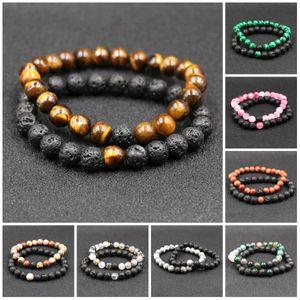 Braccialetti di perline di pietra naturale lavica Best Friend 2Pz / Set Coppia classica Amanti del fascino a distanza Bracciale perline di coppia