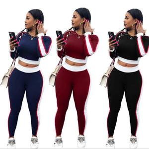Frau Sportswear Sweatshirt + lange Hosen Sweatpants zweiteilige Set Langarm Jogging Sport Anzug für Damen Trainingsanzug Sweatsuit