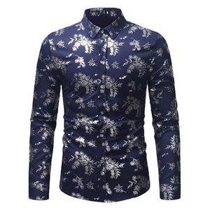 Spring Fashion Mens Роскошный Зимний Рукав Топ Отворачивает Печать Печать Drop Осенняя Рубашка Осень Длинная Блузка Доставка BljPD