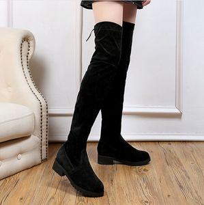 2019 otoño invierno nuevo pimiento pequeño grueso sobre la rodilla botas damas negro fondo plano delgado estufas largas botas