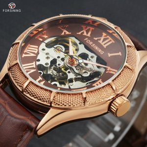 2018 Vintage New Men Automatic Mechanical Wrist Watches Luminous Hands Skeleton Roman Numerals Over Size Dial Relogio masculino D18101002