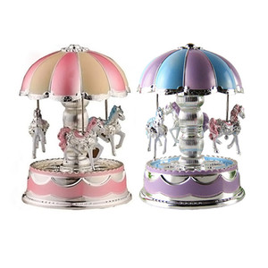 LED Light Merry-Go-Round Carousel with Music Christmas Birthday Gift Toy Random Color