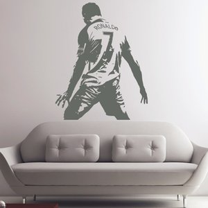 Tamanho grande cristiano ronaldo figura adesivo de parede de vinil diy home decor decalques da estrela de futebol de futebol atleta jogador decalques para quarto de crianças