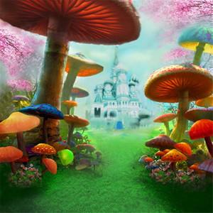 Fiaba meraviglie Bambini festa di compleanno Photo Booth Scenografia Funghi stampati Pink Cherry Blossoms Castello Principessa Fotografia Sfondo
