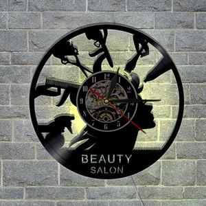 1piece del salón de belleza Registro reloj de pared de la peluquería Unique Art ligera de la decoración LED con cambio de color Colgando tiempo de vigilancia