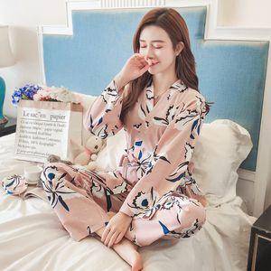 Cotton kimono Woman pajamas set Leaves Printing Female trousers+Night gown Autumn Winter Home Wear Clothing Pyjama 2 Pieces Suit