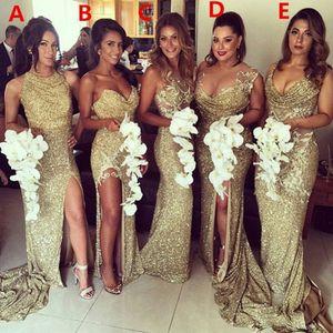 Ouro Lantejoula Vestidos de Dama de Honra Longa Barato 2019 Mermaid Dividir Formal Vestidos de Casamento Convidado Prom Ball Party Dress