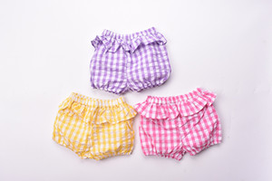 3 color 2018 INS new arrival baby kids summer cute plaid print Ruffles shorts sweet pants free shipping