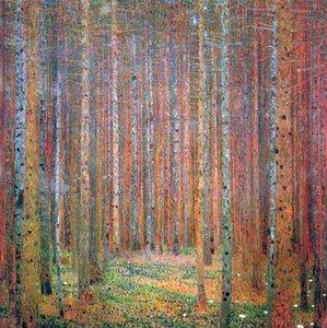 Gerahmtes handgemaltes klassisches abstraktes Kunst-Ölgemälde Gustav Klimt - Tannenwald I auf Leinwand