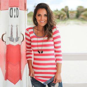 Womens Striped Shirt 2018 여성 의류 여성 긴 소매 줄무늬 티셔츠 기본 Scoop Neck Shirts 가을 여성용 캐주얼상의