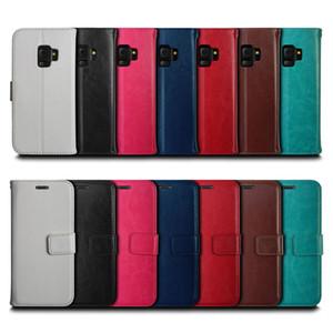 Carpeta del tirón la caja del teléfono de TPU cubierta de cuero de múltiples tarjetas de la ranura del sostenedor del teléfono para la nota 9 S8 S9 Plus A8 / 2018 Plus