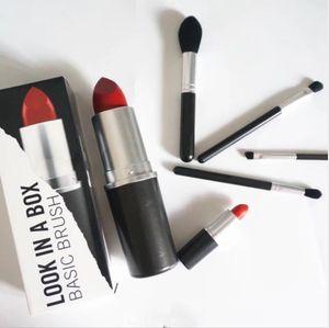 Nueva marca de maquillaje caliente Look In A Box Pincel básico 4 unids / set de cepillos con Big Lipstick Shape Holder Maquillaje HERRAMIENTAS envío gratis