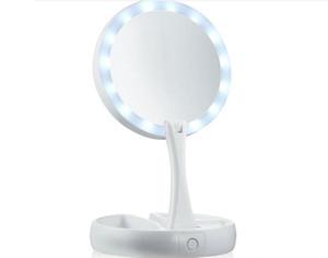 Benim Uzakta Fold LED Makyaj Aynası Çift taraflı Rotasyon Katlanır USB Işıklı Vanity Ayna Dokunmatik Ekran Taşınabilir Masa Lambası Perakende kutusu ile