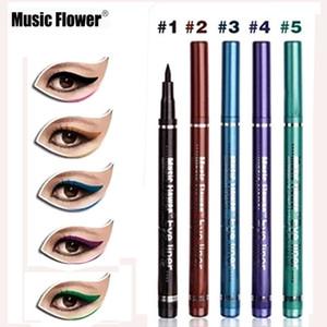 Musik Blume Marke Make-up Eyeliner 5 Farbe Liquid Eye Liner Bleistift Augen Make-up Kosmetische Wasserdichte Weiche Feine Augenlinie Stift