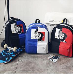 2018 Nuovo arrivo Clown stampato Zaino Patchwork a contrasto di colore Canvas Zaino Adolescente Hiphop Fashion School Bag Laptop Bag