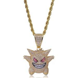 Collar colgante Gengar Rhinestone lleno Hip Hop diseñador de joyería collar Fuera de Bling Bling de hielo con 24 pulgadas de cadena para hombres regalo