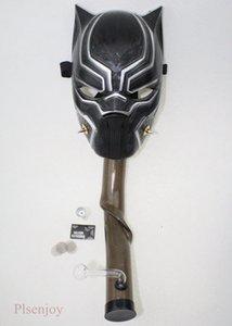 Черная Пантера противогаз Бонг со стеклом мазок стеклянная масляная горелка табак Бонг Мультифоункции кальян Хэллоуин маскарадный костюм партия Маска