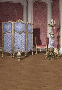 Interior Room Purple Damask Fondali Fotografia Fondali Stampati Sedia Fiori Candele Sfondo blu Ragazza principessa Photo Studio Sfondi