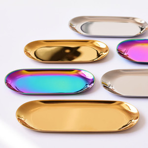 23 * 9.5 cm Nórdico chique metal aço inoxidável Bandeja De Armazenamento de armazenamento oval de bronze / bandeja de chá de ouro / prata / gradiente de cor popular decoração do produto