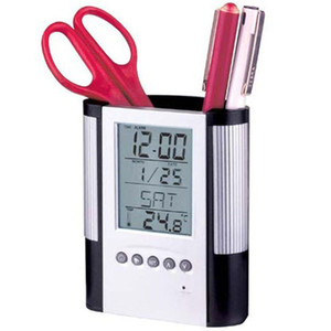 Creative timepieces calendar pen B office stationery pen holder multi-function pen holder