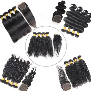 100% Rohboden Körper-Wellen-Bundles mit Frontal brasilianischer tiefem Wasser Welle Menschenhaar Bundles mit Closure Weave brasilianischem Jungfrau-Haare