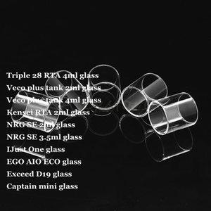 Üçlü 28 RTA Veco Artı Tankı Kensei RTA NRG SE IJust Bir EGO AIO ECO D19 Kaptan Mini Pyrex Aşan Yedek Cam Tüp DHL