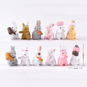 12pcs Cartoon Animal Coniglio Resina Craft Fairy Garden Miniature Bonsai Strumenti Terrario Figurine jardin Accessori per la casa Micro Paesaggio